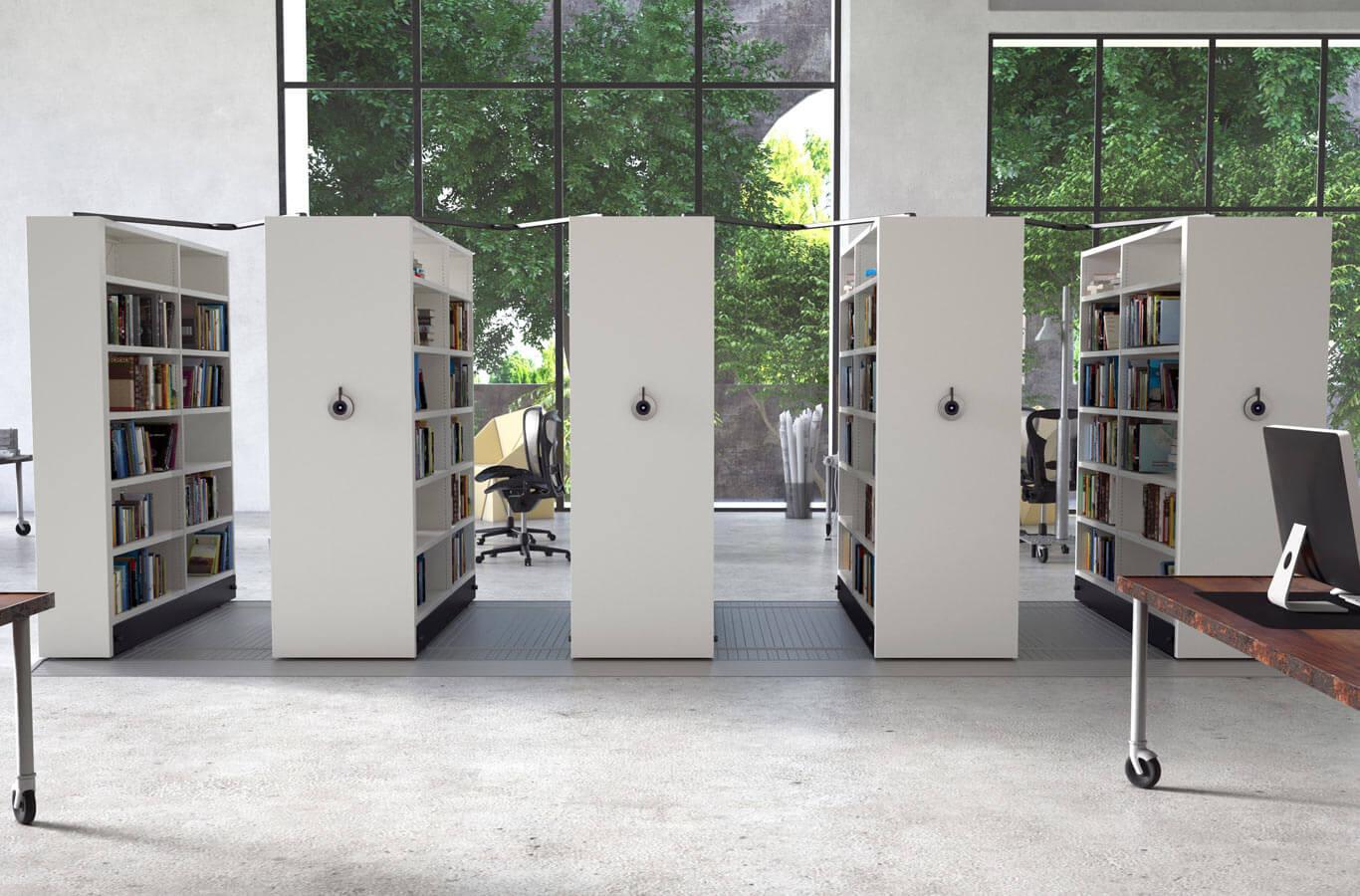 Regały biblioteczne przesuwne z napędem elektrycznym